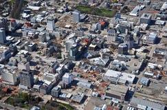 空中克赖斯特切奇爆破地震视图 免版税图库摄影