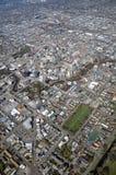 空中克赖斯特切奇爆破地震视图 免版税库存照片