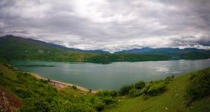 空中全景向湖阻止,北部马其顿 库存照片