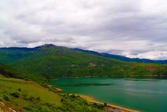空中全景向湖阻止,北部马其顿 库存图片