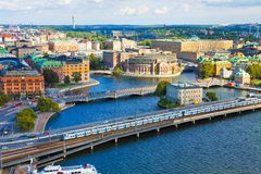 空中全景斯德哥尔摩瑞典 免版税库存照片