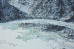 空中冻结的湖视图 免版税库存照片