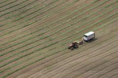 空中剪切乳牛场场主域干草拖拉机视&# 免版税库存图片