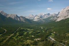 空中加拿大路线高尔夫球罗基斯 免版税库存照片