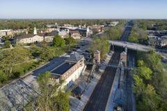 空中商业区和火车站 图库摄影
