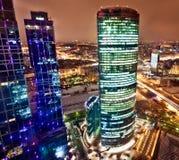 空中商务中心城市莫斯科视图 库存图片