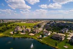 空中图象住宅农村邻里在Bettendorf衣阿华 免版税图库摄影