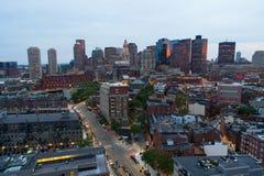 空中图象波士顿江边区 免版税库存图片