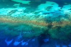 空中图象热带珊瑚礁生态系的许多颜色 库存图片