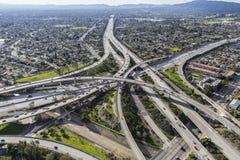 空中圣费尔南多谷的高速公路 免版税库存照片