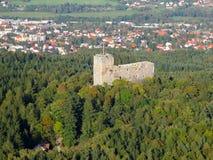 空中城堡中世纪照片 库存图片