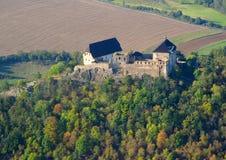 空中城堡中世纪照片 免版税库存照片