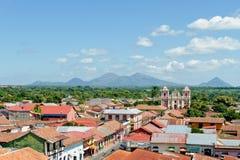 空中城市利昂尼加拉瓜 免版税库存照片