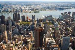 空中城市曼哈顿新的地平线视图约克 免版税图库摄影