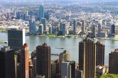 空中城市曼哈顿新的地平线视图约克 图库摄影
