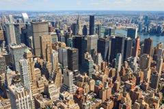 空中城市曼哈顿新的地平线视图约克 免版税库存照片
