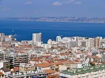 空中城市法国马赛端口视图 免版税库存照片
