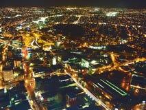 空中城市点燃视图 免版税库存图片