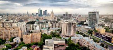空中城市莫斯科全景 免版税图库摄影