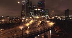 空中城市视图在晚上 股票视频