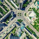 空中城市视图 都市的横向 直升机射击 全景的图象 库存照片