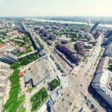 空中城市视图 都市的横向 直升机射击 全景的图象 图库摄影