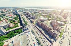 空中城市视图 都市的横向 直升机射击 全景的图象 免版税图库摄影