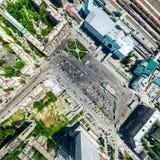 空中城市视图 都市的横向 直升机射击 全景的图象 免版税库存照片