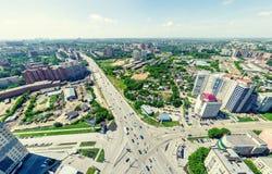 空中城市视图 都市的横向 直升机射击 全景的图象 免版税库存图片