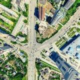 空中城市视图 都市的横向 直升机射击 全景的图象 库存图片