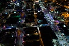 空中夜场面南海滩迈阿密佛罗里达 免版税库存图片