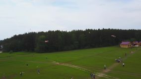空中大小组美丽的跑与孩子的孩子男孩和女孩在公园 快乐风筝无忧无虑的活动的夏天 股票录像