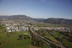 空中奥地利莱茵河谷视图 库存图片