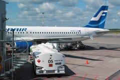 空中客车在机场 免版税库存图片