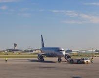 空中客车在莫斯科机场 库存图片