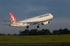 空中客车321-231土耳其航空 库存图片