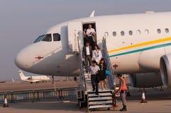 空中客车318精华企业喷气机 库存照片