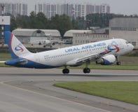 空中客车A319乌拉尔航空公司 免版税库存照片