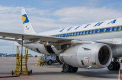 空中客车A321减速火箭的号衣汉莎航空公司 俄国 圣彼德堡 2017年8月10日 免版税库存照片