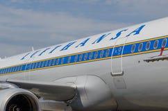 空中客车A321减速火箭的号衣汉莎航空公司 俄国 圣彼德堡 2017年8月10日 免版税图库摄影
