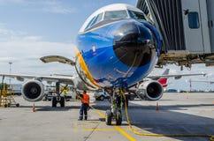 空中客车A321减速火箭的号衣汉莎航空公司 俄国 圣彼德堡 2017年8月10日 库存照片