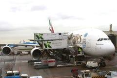 空中客车A380是最大的乘客飞机在世界上 免版税库存照片