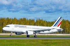 空中客车a319法航航空公司,机场普尔科沃,俄罗斯圣彼德堡2015年10月 免版税库存图片