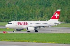 空中客车a-319瑞士空气,机场普尔科沃,俄罗斯圣徒Peterburg 2014年5月19日 库存图片