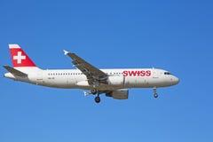 空中客车A-320瑞士航空公司 免版税库存图片