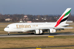 空中客车A380酋长管辖区航空公司 库存图片