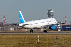 空中客车a321 Metrojet,俄罗斯圣彼德堡普尔科沃, 2015年3月15日 免版税库存照片