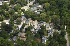 空中家房子邻里住宅视图 免版税库存图片