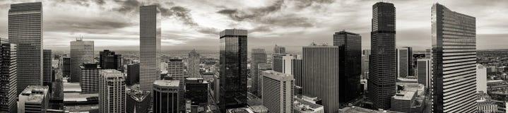 空中寄生虫黑&白色全景-市丹佛科罗拉多 免版税库存图片