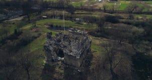 空中射击:骑士Templar的古老城堡的废墟 股票视频